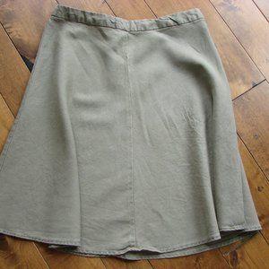 Banana Republic Olive Green Linen Midi Skirt
